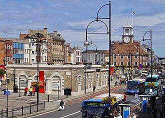 Stockton-on-Tees - Image: Town Hall and Shambles Market Hall, Stockton on Tees