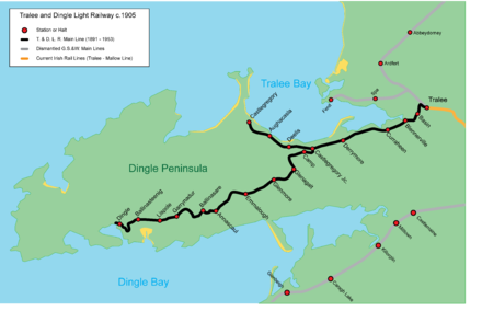 Map Of Ireland Showing Dingle.Tralee And Dingle Light Railway Wikipedia