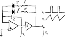 Triangular and square-wave generator circuit with duty cycle regolation.png