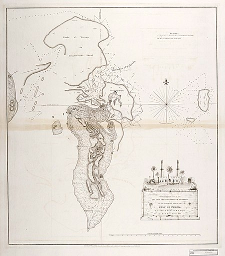 Map of Bahrain in 1825. Trigonometrical Plan of the Island and Harbour of Bahrain.jpg