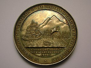 History of Trinidad and Tobago - A medallion showing the capture of Trinidad and Tobago by the British in 1797.