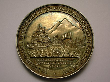 A medallion showing the capture of Trinidad and Tobago by the British in 1797. Trinidad Ralph Abercromby.JPG