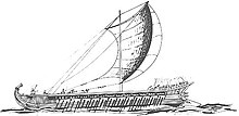 sketch of an ancient Greek sailing trireme with the sail extended
