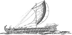 Naval warfare - An ancient Greek trireme vessel