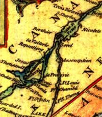 Detail of a 1759 map showing Fort Saint-John, Trois-Rivières and Sorel