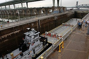 Tug Boat Chariot K. Smith pushes a barge into Chickamauga Lock.jpg