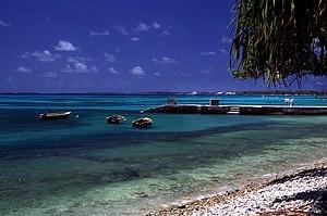 Beach of Funafuti Atoll, Tuvalu.