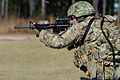 U.S. Army Maj. Matt Howard, with the 48th Infantry Brigade Combat Team, Georgia Army National Guard, places controlled, paired shots to paper targets, building on advanced marksmanship skills during mobilization 131212-Z-MV865-335.jpg