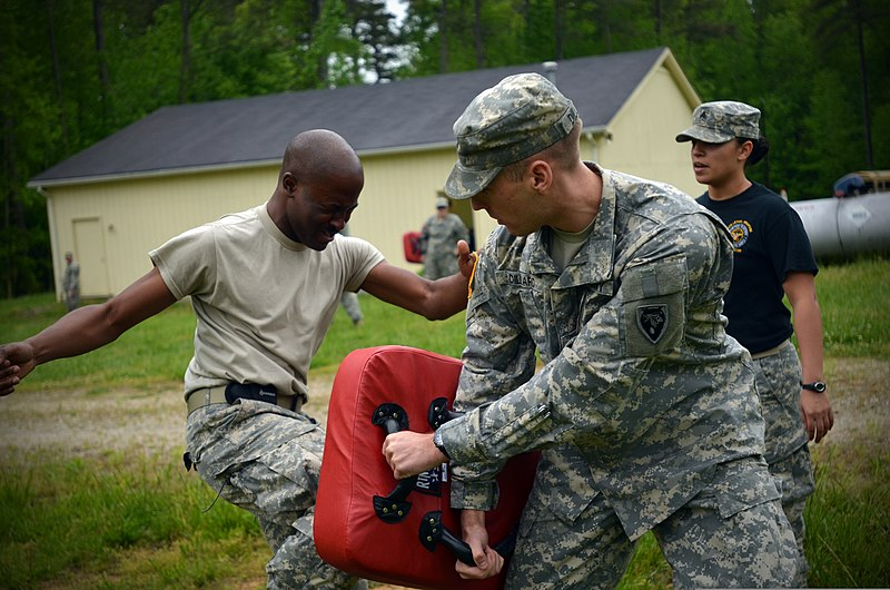 File:U.S. Army Sgt. Chavis Avery, left, with Headquarters and Headquarters Company, 105th Military Police Battalion, North Carolina Army National Guard, makes his way through a defense course 130501-Z-AY498-002.jpg