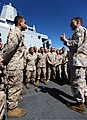 U.S. Marine Corps Col. Frank Donovan, the commanding officer of the 24th Marine Expeditionary Unit, speaks to his Marines and Sailors April 8, 2012, aboard amphibious assault ship USS New York (LPD 21) in an 120408-M-KU932-039.jpg