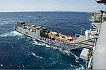 U.S. Navy Landing Craft Utility 1633 leaves the well deck of the amphibious assault ship USS Bonhomme Richard (LHD 6) in the East China Sea March 11, 2014 140311-N-LM312-062.jpg