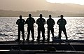 U.S. Sailors aboard the attack submarine USS Buffalo (SSN 715) wait to depart from Apra Harbor, Guam 130111-N-LS794-002.jpg