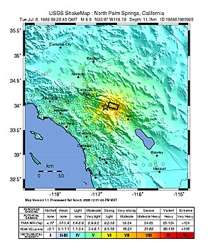 1986 North Palm Springs earthquake - USGS ShakeMap for the event