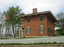 Two-story red brick house where Grant lived in Galena.