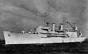 USS Curtiss when first completed in 1940