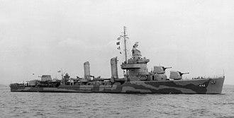 USS Nicholson (DD-442) - USS Nicholson (DD-442) off Boston in April 1942.