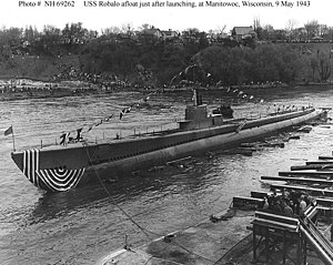 The USS Robalo (SS-273), after being launched in Wisconsin.