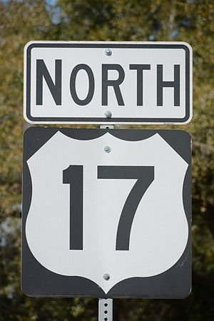 U.S. Route 17 - A US 17 highway sign in McIntosh County, Georgia, USA