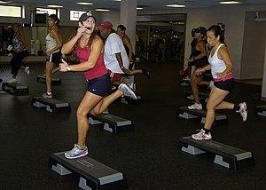 Elizabeth Griffin, step-aerobics instructor, m...