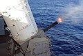 US Navy 030220-N-5555F-014 A Pre-Aimed Calibration (PAC) fire is conducted on a Close-In Weapons System (CIWS) to check the gun bore alignment aboard the nuclear powered aircraft carrier USS Carl Vision (CVN 70).jpg