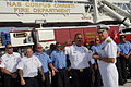 US Navy 090721-N-8273J-297 Chief of Naval Operations (CNO) Adm. Gary Roughead speaks with Navy civilian firefighters at the fire training tower while visiting Naval Air Station Corpus Cristi.jpg