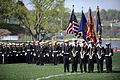US Navy 100407-D-7203C-007 Midshipmen post the colors at the U.S. Naval Academy in Annapolis, Md. during a parade honoring Secretary of Defense Robert M. Gates.jpg