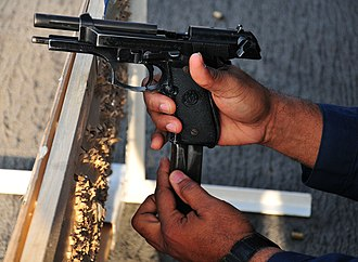 Semi-automatic pistol - M9 pistol used by the US military; a variant of the Beretta 92FS