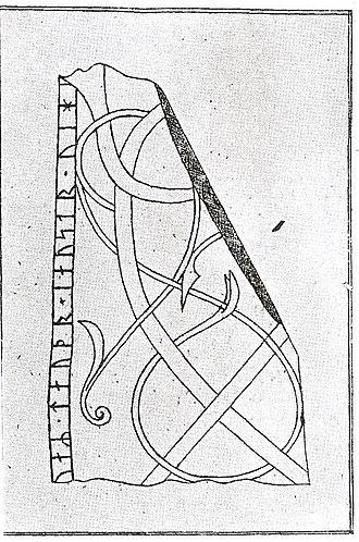 Gardarike runestones - Runestone U 366 in a 17th-century drawing