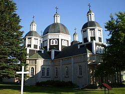 Die ursprüngliche ukrainisch-katholische Auferstehungskirche in Dauphin, Manitoba, einer nationalen historischen Stätte Kanadas.