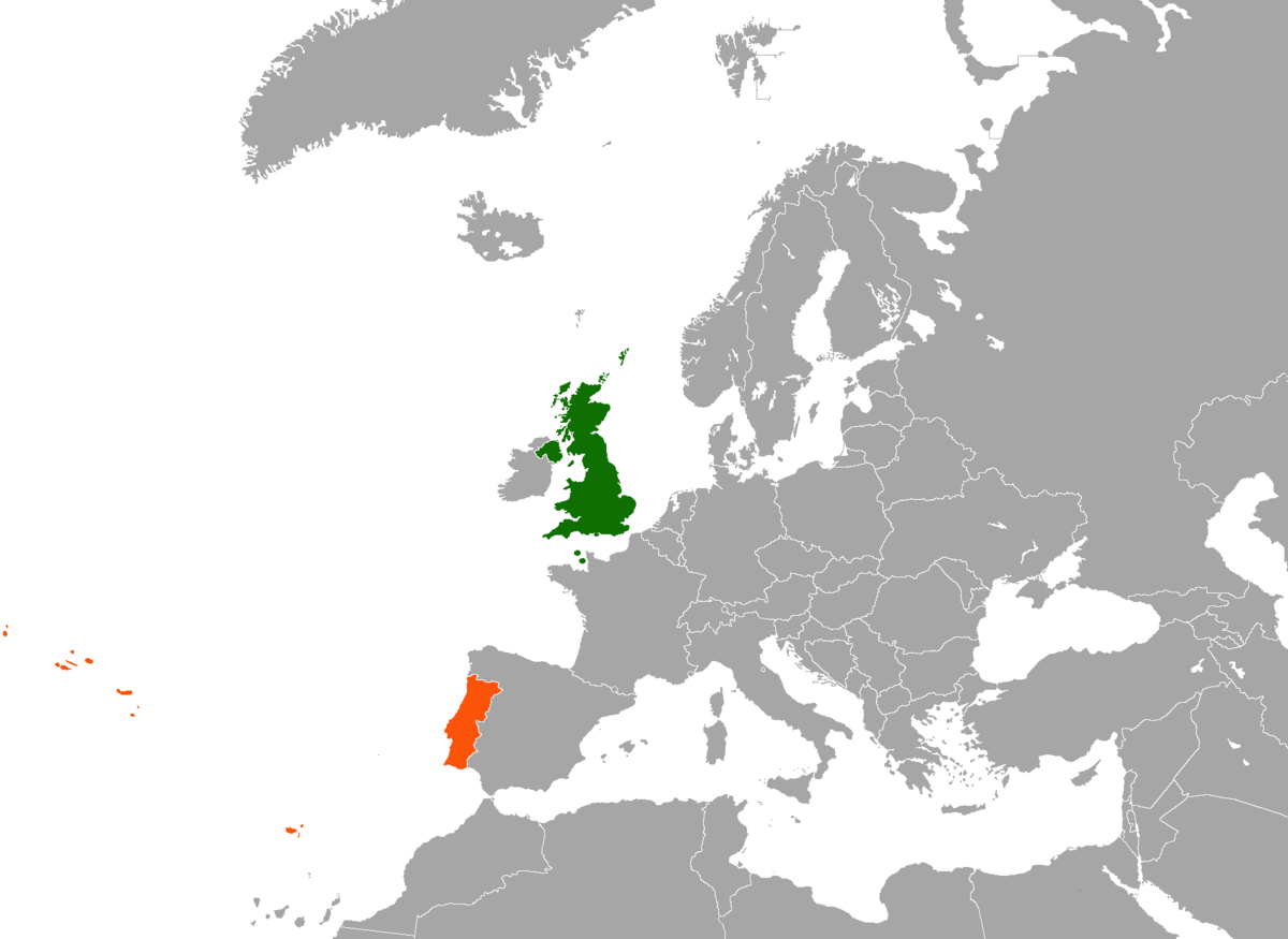 PortugalUnited Kingdom Relations Wikipedia - Portugal england map