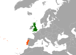 Map indicating locations of United Kingdom and Portugal