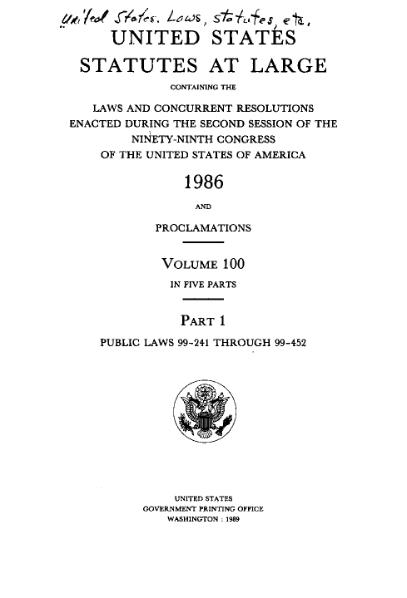 File:United States Statutes at Large Volume 100 Part 1.djvu
