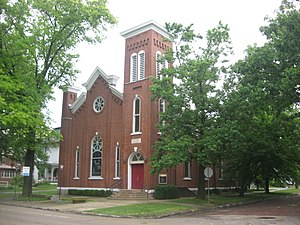 Mattoon, Illinois - Unity Church, erected in 1872 and listed on the National Register of Historic Places
