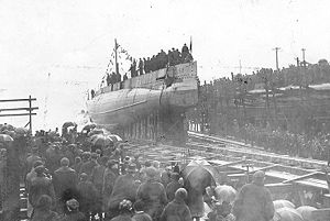 The launch of USS S-2 (SS-106)