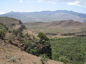 Ol Doinyo Eburru - Looking south over the Elmenteita Badlands to Eburru in the background.