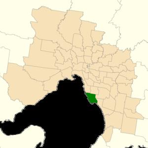 Electoral district of Sandringham - Location of Sandringham (dark green) in Greater Melbourne