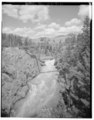 VIEW NORTH - Tower Suspension Bridge, Spanning Yellowstone River at Yellowstone River Trail, Mammoth, Park County, WY HAER WYO,15-MAHOSP.V,2-2.tif