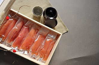Pollock roe - Image: Vacuum packed myeongnanjeot (pollock roe)