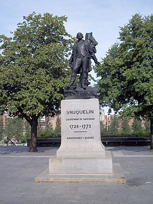 Battle of Neuville - Statue of Jean Vauquelin in Vauquelin Square, Montreal