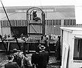 Verscheping Creme Caleche bij KNSM naar Curacao. Paarden worden ingeladen, Bestanddeelnr 907-3429.jpg