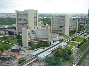 Vienna International Centre - Vienna International Centre (before construction of the M building and the DC Towers). The Austria Center Vienna can be seen at the far left in the middle distance.