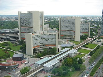 United Nations Office at Vienna - Aerial view of Vienna International Centre, which houses the UNOV