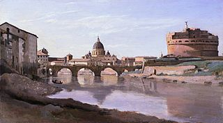 View of Rome: The Bridge and Castel Sant'Angelo with the Cupola of St. Peter's