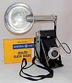 Vintage Kodak Tourist II Folding Camera With Widina Flashgun (Germany), Camera Made In USA, Die Cast Aluminum Body, Circa 1951 - 1958 (35670565705).jpg