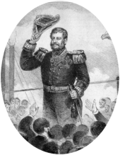 Drawing showing a man with dark hair and graying sideburns, dressed in an elaborately embroidered naval uniform having a double-breasted tunic adorned with epaulettes and medals, and who is raising his bicorn hat in acknowledgement of the waves of a cheering crowd standing below him