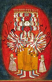 Painting depicting a multi-armed, multi-headed being– Vishvarupa of Krishna.