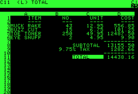 VisiCalc, the earliest generally agreed-upon example of a killer application Visicalc.png
