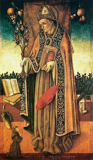 St. Bonaventure holding the tree of the redemp...