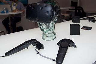 HTC Vive virtual reality headset produced by HTC and Valve