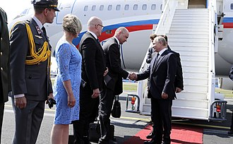 2018 Russia–United States summit - Image: Vladimir Putin arrives in Helsinki, 16 July 2018 (2)
